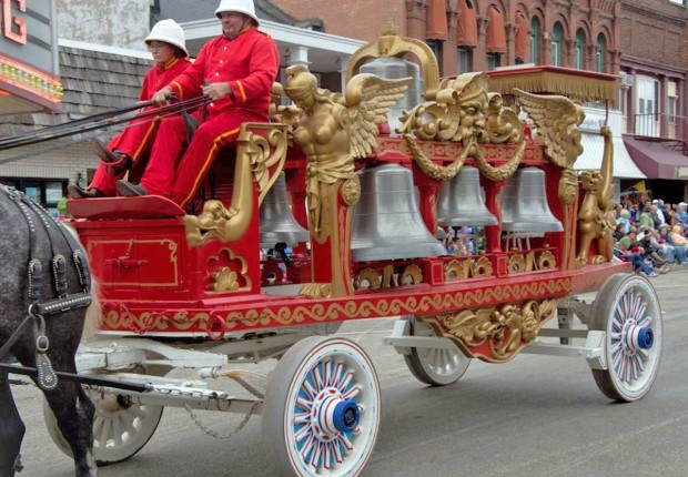 Elaborate circus wagon with bells